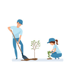 man and woman holding shovel and planting plants vector image vector image