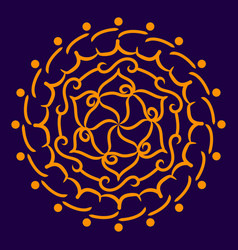 orange mandala on a dark blue background vector image vector image