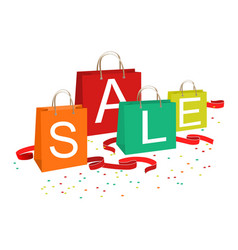 shopping bags and sale text vector image