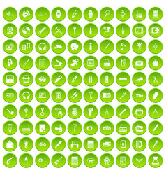 100 portable icons set green circle vector