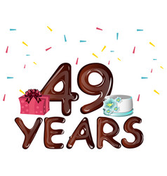 49th years greeting card with gift vector image