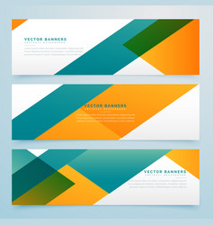 Abstract geometric yellow and blue banners set vector