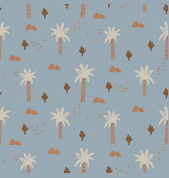 abstract tropical plants seamless cute pattern vector image