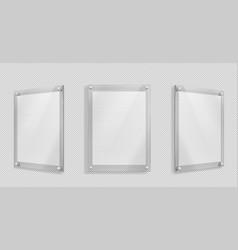 Acrylic poster blank glass frame hang on wall vector