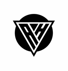 Ah logo with negative space triangle and circle vector