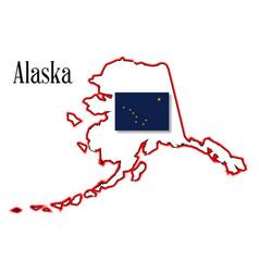 alaska state map and flag vector image