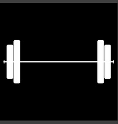 Barbell the white color icon vector