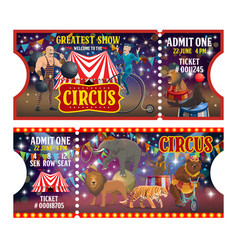 big top circus tickets performers and animals vector image
