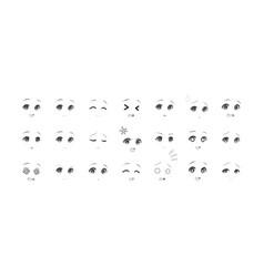 black and white emotions eyes of anime manga girls vector image