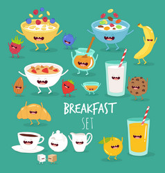 breakfast orange juice plate flakes banana vector image