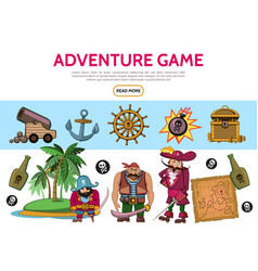 cartoon adventure game elements set vector image