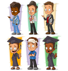 Cartoon happy college student character set vector
