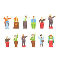 cartoon men characters giving speech from tribune vector image
