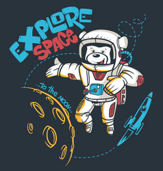 cartoon teddy bear astronaut space graphic vector image