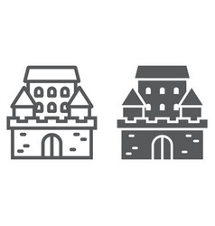 castle line and glyph icon architecture vector image