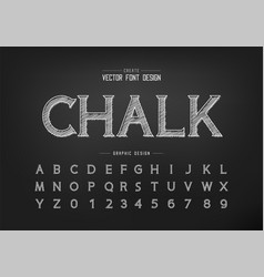 chalk font and alphabet hand draw idea typeface vector image