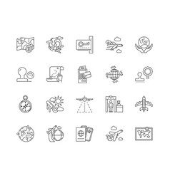 Citizenship line icons signs set outline vector