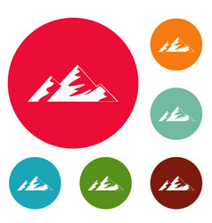 climb on mountain icons circle set vector image
