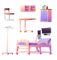 clinic ward or chamber interior stuff isolated set vector image
