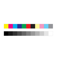 Cmyk press marks color and greyscale bar isolated vector