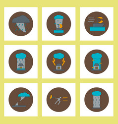 Collection of icons in flat style tornado vector