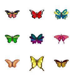 colored butterfly icons set flat style vector image