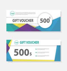 Colorful Gift voucher template layout design set vector image