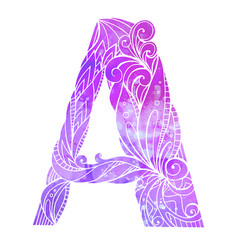 coloring freehand drawing capital letter a vector image