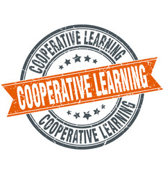 Cooperative learning round grunge ribbon stamp vector