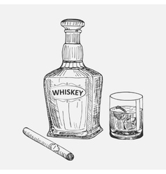 Creative sketch of whiskey composition vector