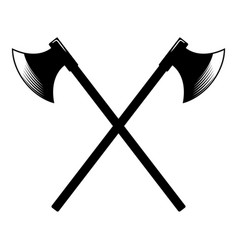 crossed ancient hatchets in engraving style vector image