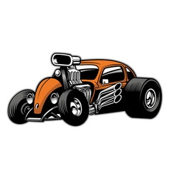 Custom hotrod car with big engine vector