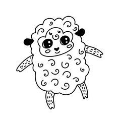 doodle sheep character vector image