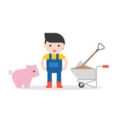 farmer and piglet wheelbarrow in flat design vector image