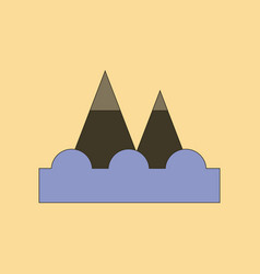 Flat icon stylish background tsunami mountains vector