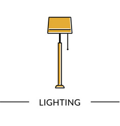 Floor lamp lighting furniture line icon for web vector