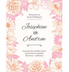 flower frame wedding invite vector image