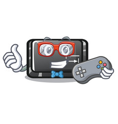 Gamer tab button attached to cartoon keyboard vector
