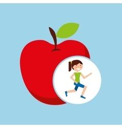 Girl jogger apple healthy lifestyle vector