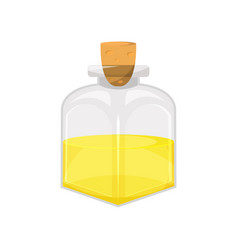 Glass bottle of vegetable food oil organic vector