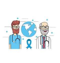 Global doctors with stethoscope to mens health vector