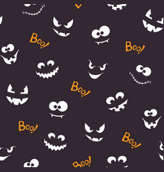 halloween seamless pattern with creepy faces vector image