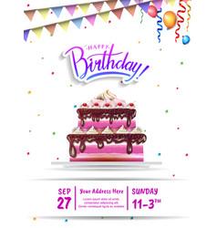 Happy birthday design with big birthday cake pink vector