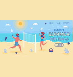 happy summer holidays landing page template vector image
