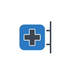 Hospital signboard related glyph icon vector