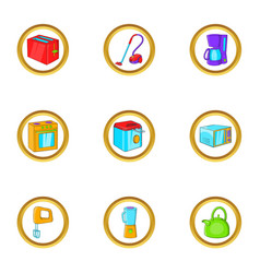 House electronics icon set cartoon style vector