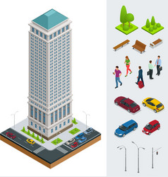 isometric city modern flat buildings financial vector image