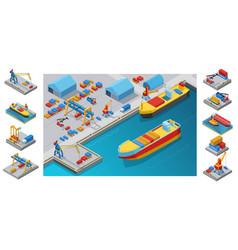 Isometric sea port template vector