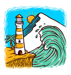 Lighthouse and waves vector