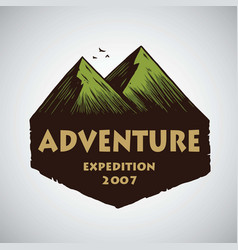 logo for camping mountain adventure emblems vector image